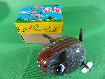 vintage  Yone  Scurry Mouse Wind Up Toy Tinplate - MAde in Japan in Box - NOS