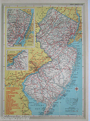 NJ NM Vtg 1951 NEW JERSEY RAILROAD MAP B&O L&HR D&LW ERIE LI. NEW MEXICO 1950s