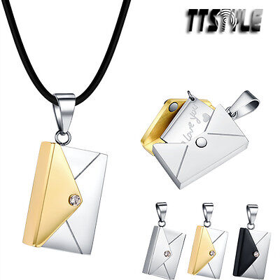Unisex TTstyle Stainless Steel Envelope Pendant Necklace 3 Colours Free Chain
