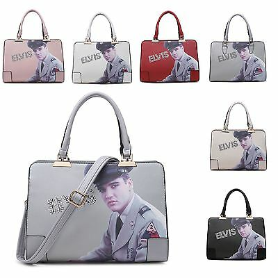 Womens Elvis Presley  Faux Leather Adjustable Strap Rhinestone Shoulder Hand Bag