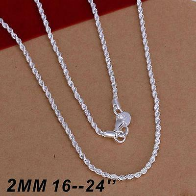 """925 Sterling Silver 16'' 18'' 20"""" 22"""" 24"""" Inch Twist Rope Chain Necklace"""