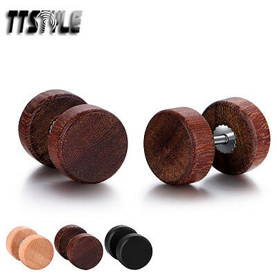 TTstyle Surgical Steel Wood Round Fake Ear Plug Earrings 3 Colors 8/10mm NEW