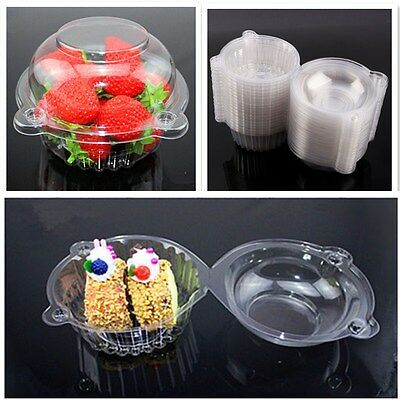 100 Pack Plastic Cupcake Muffin Single Cup Cake Holders Boxes Pods Domes Cases A