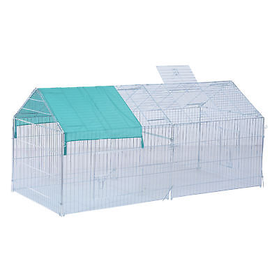 Pawhut Small Animal Enclosure Outdoor Run Play Dog Rabbit Metal Cage w/ Cover