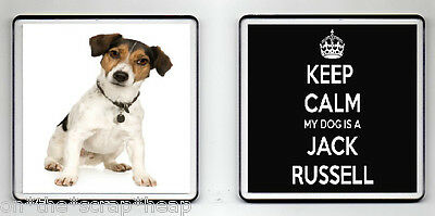 KEEP CALM MY DOG IS A JACK RUSSELL DRINKS COASTER (image size 90mm X 90mm) (2)