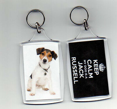 JACK RUSSELL SMOOTH COAT - LARGE KEEP CALM PHOTO KEYRING  (image size 70 x 45mm)