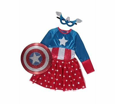George Marvel Universe American Dream Girl Fancy Dress Outfit Costume Book Day