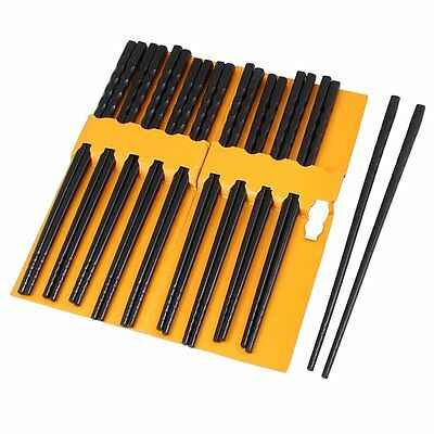 V1P 10 Pairs Kitchen Dishware Nonslip Plastic Chopsticks Black