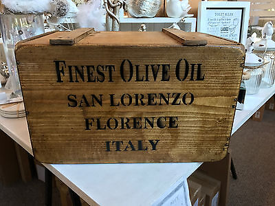 Vintage Finest Italian Olive Oil Wooden Storage Trunk Box Crate Lid Chest Large
