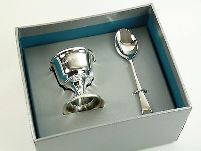 NEW - Sterling Silver - Christening Set - Egg Cup & Spoon - Boxed