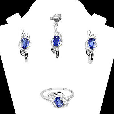 Genuine! Natural 7X5 Mm Oval Kyanite & White-Cz Sterling 925 Silver Jewelry Set
