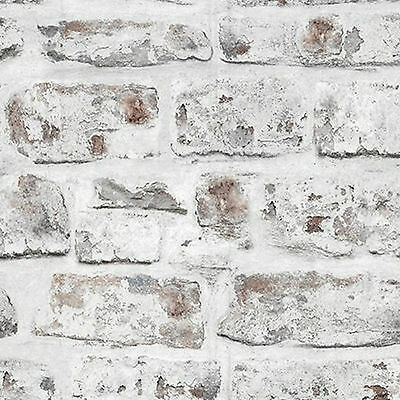 NEW Alam 18201 WHITE BRICK WALL STONE EFFECT WALLPAPER