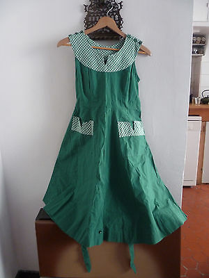 VINTAGE ROCKABILLY ROCK AND ROLL 50's ROBE DRESS VERT & VICHY  T 36
