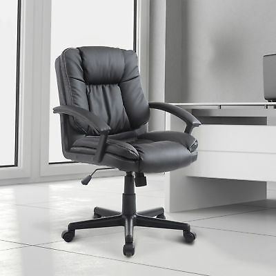 HOMCOM Adjustable 360°Swivel Faux Leathered Mid-Back Office Chair Black