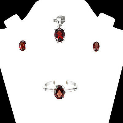 CHARMING! NATURAL 6X4mm/8X6mm ORANGE RED GARNET STERLING 925 SILVER JEWELRY SET