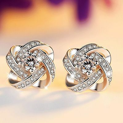 Fashion 925 Sterling Silver Crystal Swirl Stud Round Earrings Jewelry Womens