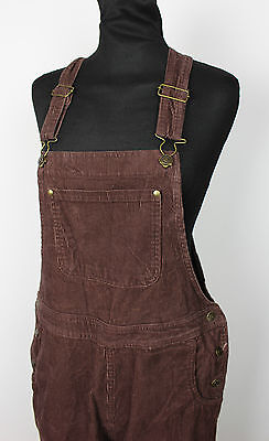 VINTAGE LADIES BROWN CORDUROY DUNGAREES 90s GRUNGE FESTIVAL WOMENS SIZE S
