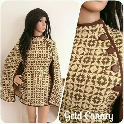 Vintage 60s Cream Welsh Tapestry Melin Mod Belted Geo Wool Cape Coat M 12 14 40