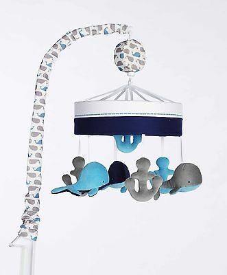Just Born High Seas Musical Mobile Whales Blue and Grey Anchors