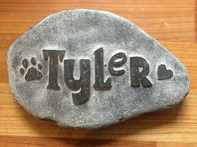 Pet memorial handcarved into natural stone, personalised w/ name dog cat paw
