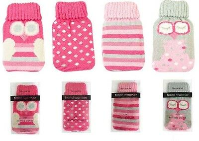 Reusable Gel Hand Warmer Pink Owls, Spots & Stripes Knitted Cover New