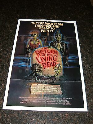 THE RETURN OF THE LIVING DEAD Original Movie Poster, C8.5 Very Fine to Near Mint