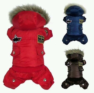 Cute Pet US Airforce Jumpsuit Jacket Warm Puppy Coat Hoodie Dog Apparel Outfit.