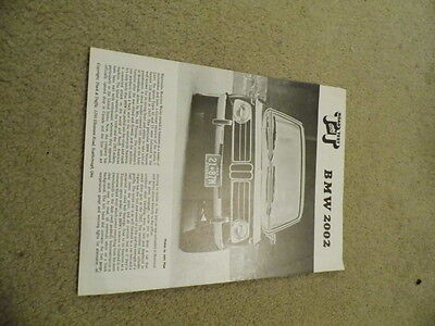 1969 BMW 2002 Road and Test technical data sales  brochure
