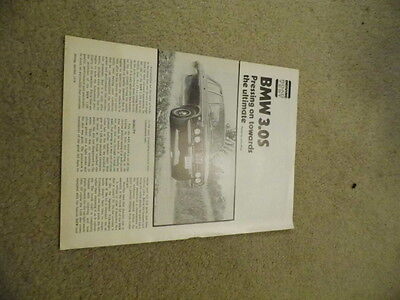 1974 BMW 3.0S  Road Test technical data  promo sales  brochure