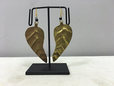 Masai African Brass Large Leaf Earrings E64