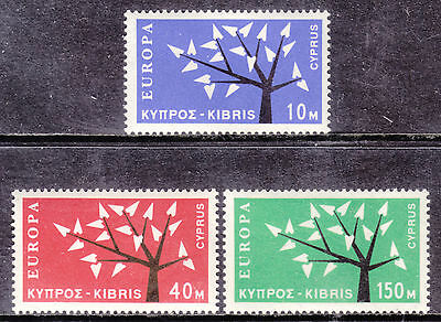1963 Cyprus Europa Set/3 #219-221, Vf, Mint Lightly Hinged