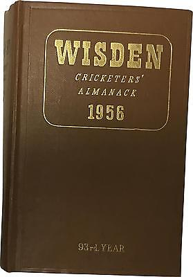 RARE EXCEPTIONAL 1956 WISDEN Cricketers' Almanack Hard Cloth Book (D.T)