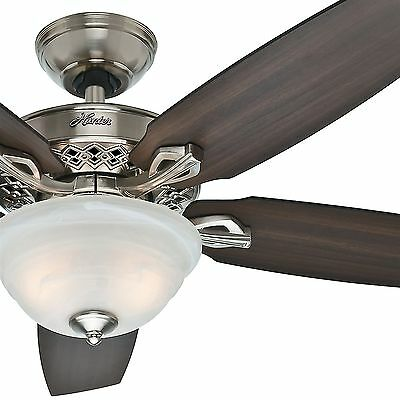 "52"" Hunter Fan Traditional Ceiling Fan in Brushed Nickel with Light Kit"