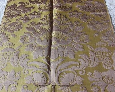 French Antique 19thC Silk HomeDec Brocatelle Fabric Textile Woven On 18thC Looms