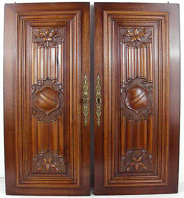 Antique  french wood panel door Linenfold Carving