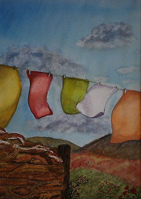 original watercolour painting of a clothes line in a landscape