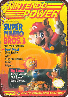 Nintendo Power Magazine Super Mario bros 3 reproduction metal tin sign 8 x 12