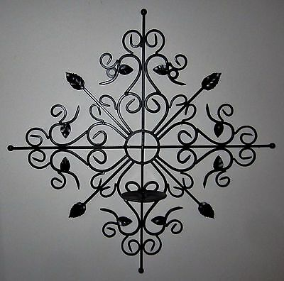 Large Ornate Wrought Iron Black Wall Decor Single Pillar Candle Holder Plaque
