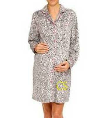 NWT-Maternity Black Animal Fleece Long Sleeve Sleep Shirt Nightgown-S, M, L, XL