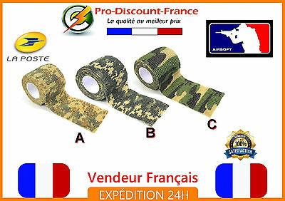 Bande Stretch Fixation Camouflage Airsoft Paintball militaire camo arme