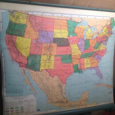 48 State Large 54 X 54 Vintage Pull Down School Map Usa Made A.j. Nystrom Rare