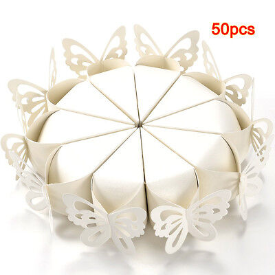 50 Pcs Butterfly Favor Gift Candy Boxes Cake Style for Wedding Party M3S0