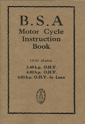 BSA Sloper Book1930 4.93hp 3.49  OHV Reprinted Instruction Manual
