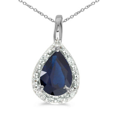 """14k White Gold Pear Sapphire Pendant with 18"""" Chain"""