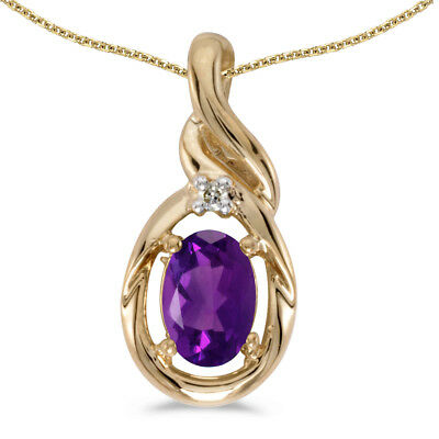 """14k Yellow Gold Oval Amethyst And Diamond Pendant with 18"""" Chain"""
