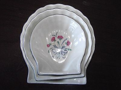 Set of 3 Lenox Poppies on Blue Shell Shaped Dishes - 3 Sizes