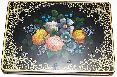 Mansfield England Tin By Barringer Wallis And Manners Painted Flowers Vintage