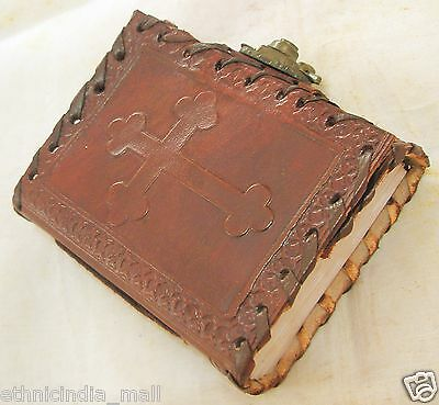 Handmade Celtic Cross Leather Journal Mini Pocket Diary Grimoire Spellbook Wicca