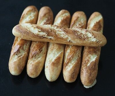 Dollhouse Miniature 6 Long French Bread Loaf Baguettes Bakery Food Supply Deco
