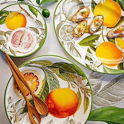 "New Williams-Sonoma 14"" Round Serving Bowl in Botanical Citrus Lemon Orange"